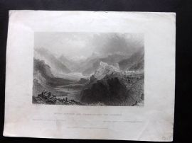 Bartlett Waldenses 1838 Print. Mount Dauphin and Champcellas, Val Durance France